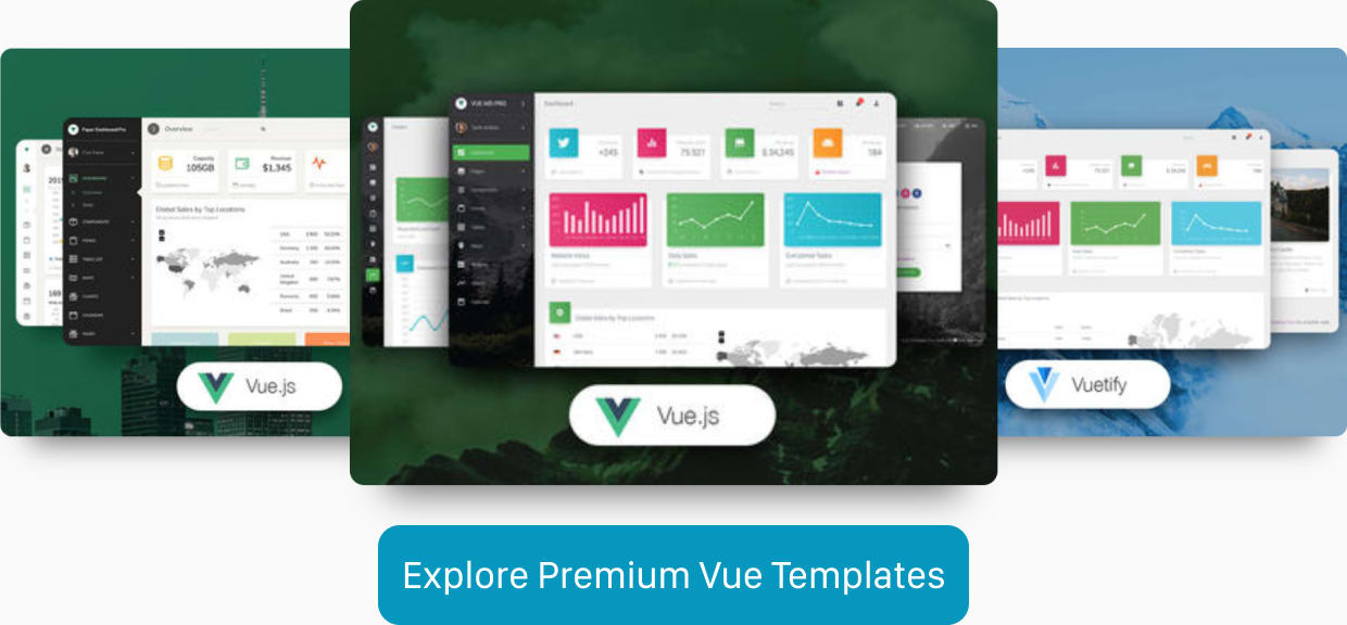 Screenshots of three premium Vue.js templates.