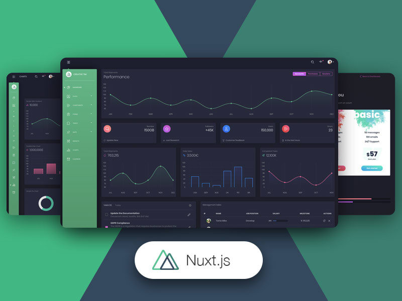 Preview of Nuxt Black Dashboard PRO template.