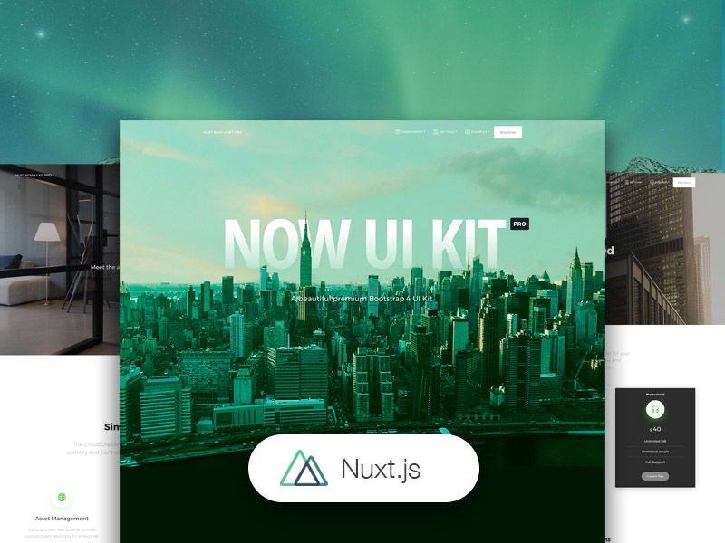 Preview of Nuxt Now UI Kit PRO template.