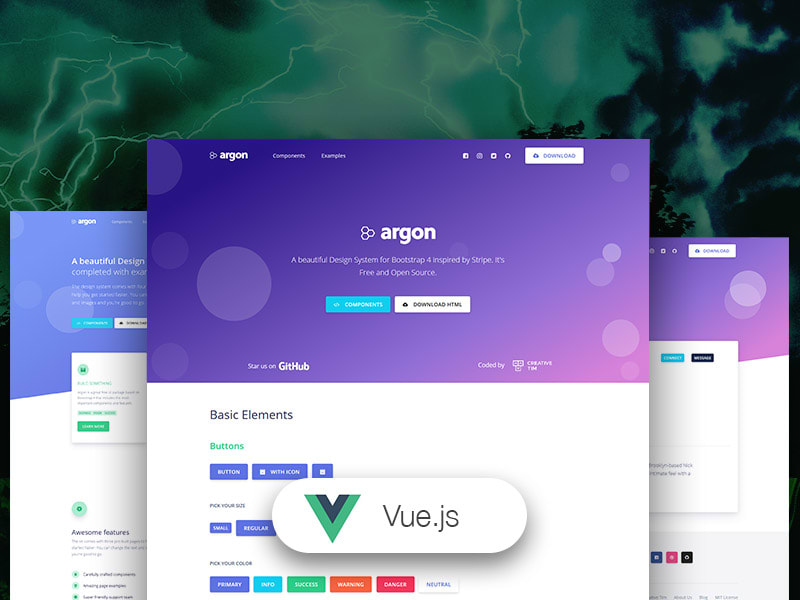 Preview of Vue Argon Design System template.