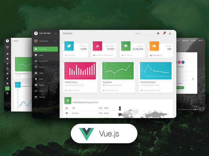 Preview of Vue Material Dashboard PRO template.