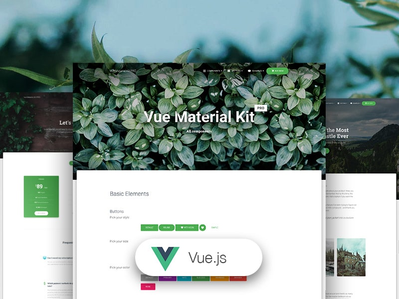 Preview of Vue Material Kit PRO template.